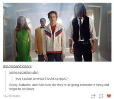 """Funny part ? The actor who plays warren peace in sky high ( """"bucky"""" in this post ) is the same guy who played caleb on """"the covenant"""" where sebastian stan ( who plays the real bucky on MCU ) played his rival, chase. Marvel Dc, Marvel Comics, Hawkeye Marvel, Dc Memes, Marvel Memes, Marvel Funny, Funny Memes, John Barrowman, Loki Thor"""