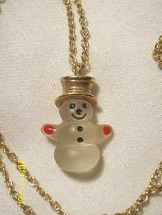 Avon Lucite Snowman Necklace - My Aunt Barbara gave me mine the first time I met her. I still have it. :)