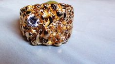 Men's Faux Cz Diamond Cluster Nugget Ring Size by LuisBlindFinds, $68.00