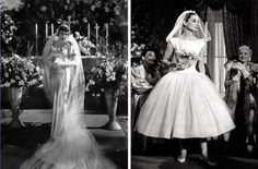 Claudette Colbert and Audrey Hepburn as brides.