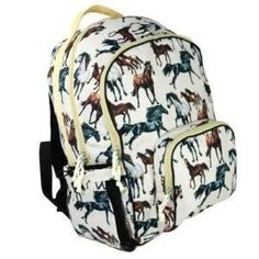 Wildkin Horse Dreams Large Backpack by Wildkin. $36.00. Our Horse Dreams pattern features a range of horse breeds that are rendered in stunning detail and accuracy. The horses' various movements are gracefully depicted atop a smooth, light taupe background.  Our largest backpack to-date, the Macropack is a durable and roomy bag. This backpack features three generously-sized zipper compartments, inner pockets, and side water bottle pockets.
