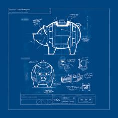 Blue Print of a Pig in Construction. Blueprint Drawing, Blueprint Art, Technical Illustration, Technical Drawing, Graphic Design Typography, Graphic Prints, Affinity Designer, Cartoon Sketches, Cad Drawing