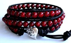 Triple Wrap Red Leather Wrap Bracelet by TaphiaDesigns on Etsy, $35.00