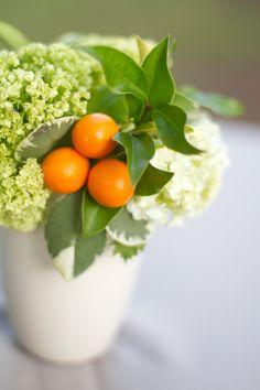 Floral arrangement ~ a pop of color using fruit