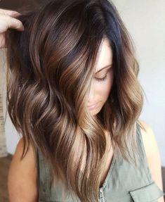 Hair Highlights - Mocha bayalage on dark brunette base
