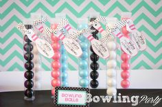 Bowling Party Favor ideas.  Cute Favor tags and bowling ball containers.