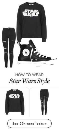 """Star Wars fan"" by daniellaavitia on Polyvore featuring Topshop, Tee and Cake and Converse"