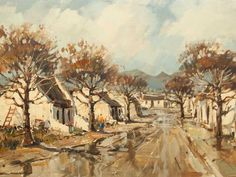 Wessel Marais (SA 1935 - 2009) Oil, Cape Street Scene 5th Avenue, Afrikaans, South Africa, Cape, Interiors, Oil, Artists, Street, Painting
