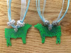 Green & Blue Glitter Metal Steer Pendant Blue Ribbon Necklace - 2 Styles | Catalog Products | Stockyard Style | Inspired by the Styles of our Nation's Stockyards