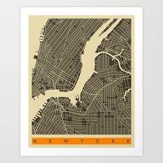 New York Map Art Print by Jazzberry Blue - $19.00