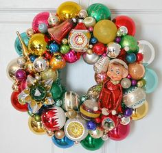 Vintage ornament wreath made by Georgia Peachez