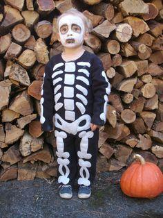 Skeleton Costume Kids Halloween Handmade one piece by BooBahBlue, $78.00