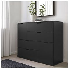 IKEA - NORDLI, dresser, anthracite, You can use one modular chest of drawers or combine several to get a storage solution that perfectly suits your space. Tall Drawers, Painted Drawers, Chest Of Drawers, Ikea Dresser, 6 Drawer Dresser, Ikea Bedroom, Bedroom Storage, Nordli Ikea, Black Dressers
