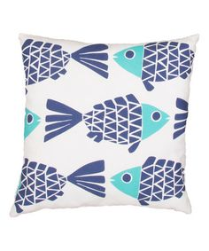 Love this Blue & Light-Blue Fish Veranda Square Throw Pillow by Jaipur Rugs on #zulily! #zulilyfinds