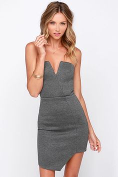 That's What Chic Said Strapless Padded Grey Bodycon Dress at Lulus.com!