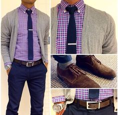Casual Menswear - Trendy Mens Blue Knit Necktie with Navy Pants + Purple Gingham Check Shirt with Grey Cardigan Mode Outfits, Casual Outfits, Men Casual, Trendy Business Casual Men, Casual Menswear, Look Fashion, Autumn Fashion, Mens Fashion, Fashion Ideas