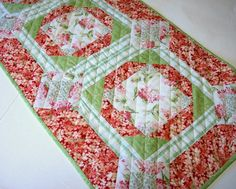 Flowered Table Runner Pink Green Quilted by atthebrightspot