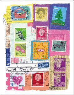 Post-collage-postcard  - by El' Papel   te koop in het atelier in Zweeloo of via de webshop van El' Papel!