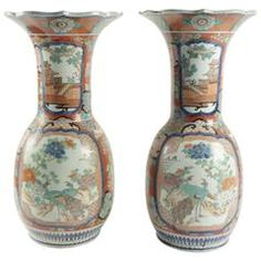 Pair of 19th Century Japanese Imari Porcelain Vases