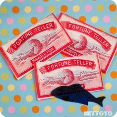 These remind me of childhood party bags. A fortune telling fish, a curly straw and a piece of birthday cake wrapped in paper towel. Happy memories!