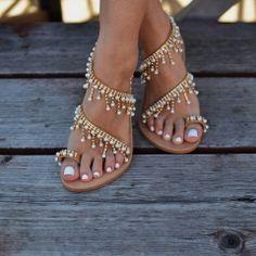 54418e19c Pearl Tassel Toe Ring PU Flat Heel Shoes