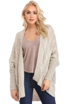 "<p>Get on that cable grind with this must have cardigan! It features a drape open front, long sleeves, an oversized fit and a warm cable knit feel.</p>  <p><em>Model is 5'9 with a 32"" bust, 24"" waist and 34"" hips. She is wearing a size small.</em></p>"