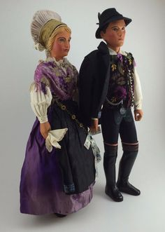 Vintage Pair of Carved Wooden Slovenia Dolls with High Quality Solvenian Costume #Dolls