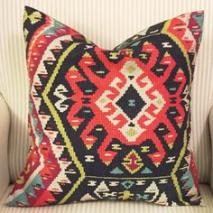 Aztec multicolor print pillow cover by WheatonWhaleyDesigns