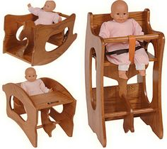 This Amish Baby Furniture 3 in 1 High Chair, Rocking Horse, Desk is Amish USA made by Ohio Amish.Constructed entirely of Oak or Cherry Hardwood.Includes TWO safety straps when used as a high chair. As a high chair it measures 18 inches wide by 16 inches deep by 32 inches high.KID'S SAFE CERTIFIED FINISH.Price includes Delivery East of the Rockies East of the Rockies.Normally ships in one to two weeks in Fruitwood stain for Oak, a bit longer for other stains and cherry.