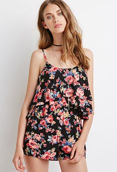 Layered Flounce Floral Romper | Forever 21 - 2000054260