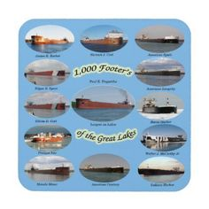1000 foot freighters on the Great Lakes coaster - home gifts cool custom diy cyo