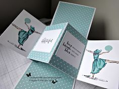 This was my first attempt at a pop up and twist card, and it has to be my favourite I made it for my sister who teaches Medau kee...