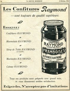 Les Confitures Raymond Yummy Treats, Marie, Centre, Vintage, Autos, Marmalade, Raspberry, Bottle, Childhood Memories
