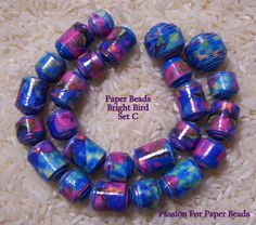 Paper Beads Bright Bird  Set C   by PassionForPaperBeads on Etsy