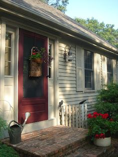 The Country Nest: My Paint Colors-outside color is Benjamin Moore Briarwood The doors are Devine Wine by Behr