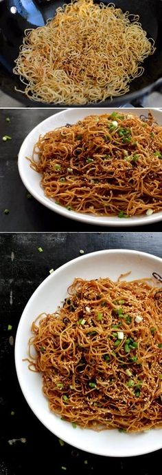 Honey Hoisin Pan-fried Noodles These pan fried honey hoisin noodles are savory but slightly sweet, crispy, and very addictive. This hoisin noodle dish is perfect for a quick weekday meal! - Honey Hoisin Pan Fried Noodles Recipe by The Woks of Life Wok Recipes, Asian Recipes, Vegetarian Recipes, Cooking Recipes, Healthy Recipes, Asian Noodle Recipes, Recipes Dinner, Honey Recipes, Vegan Meals