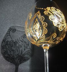 Mehndi Glass: Custom and Personalized wine or champagne glass for wedding set of two (2), bridesmaid gift, bride & groom, anniversary. $54.00, via Etsy.