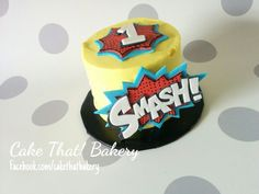 Superhero comic book smash cake
