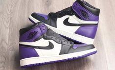 "The Air Jordan 1 ""Court Purple"" Hits Stores This Fall Nike Casual Shoes, Nike Air Shoes, Nike Air Jordans, Kd Shoes, Nike Socks, Cute Jordans, Fall Shoes, Shoes Style, Jordan Shoes Girls"