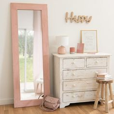 Miroir en manguier rose vieilli 60x170cm LILY ROSE