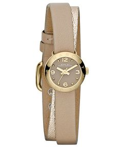 Marc by Marc Jacobs Watch, Women's Amy Dinky Metallic Gold and Light Nut Leather Double Wrap Strap 20mm MBM1256 - Women's Watches - Jewelry ...