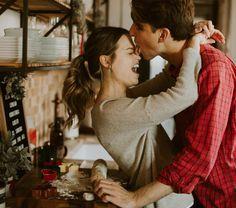 Christmas engagement photos cute original mountain cabin photographer