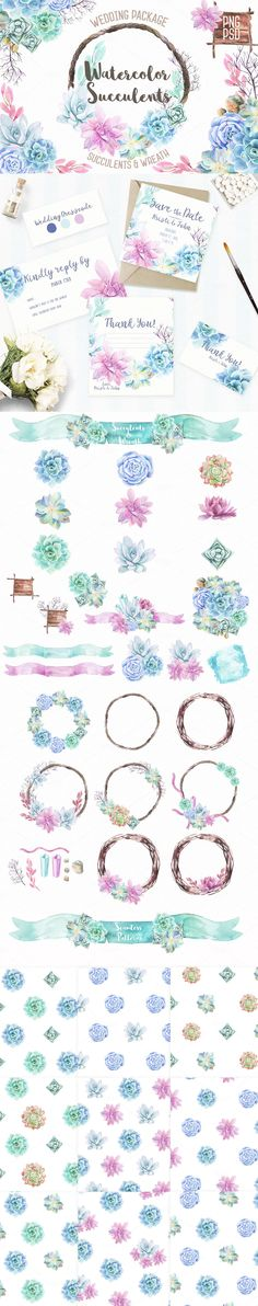 OMG! Watercolor Succulents?! I didn't expect they could look so amazing! Beautiful floral elements Simply gorgeous... __ #Watercolor Succulents & Wreath #Illustrations