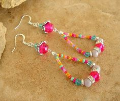 Boho Jewelry, Colorful Beaded Loop Earrings, Urban Gypsy Hippie Jewelry, Bohemian Fashion, Fun Playful Earrings