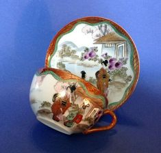 Nippon Eggshell Teacup And Saucer - Hand Painted Geisha And Purple Mums - Japan Purple Mums, Eggshell, Geisha, Teacup, Snow Globes, Porcelain, Hand Painted, Japan, Antiques
