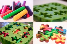 Crayon craft...great idea for the classroom too! I also saw something similar with another shaped mold - endless possibilities.