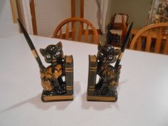 Cat Bookends Vintage Black Gold Japan Redware Retro Deco Kitty Pen Holder (20.00 USD) by CountryMileCottage