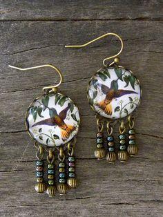 Hummingbird earrings, Bird photo jewelry Woodland Earrings, Bird dangle earrings Glass dome earrings, Forest jewelry Nature Earrings