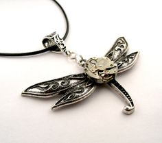 Steampunk Dragonfly Pendant  Clockwork Mechanical by SteamSect, $32.00