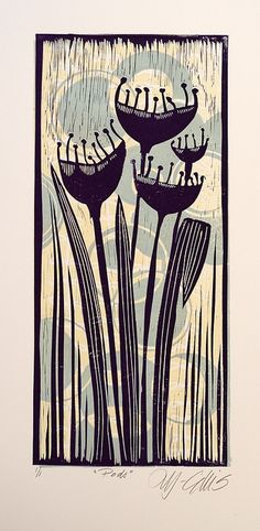 Lino Mix and Match - Purple Pods by Mariann Johansen Ellis, via Flickr